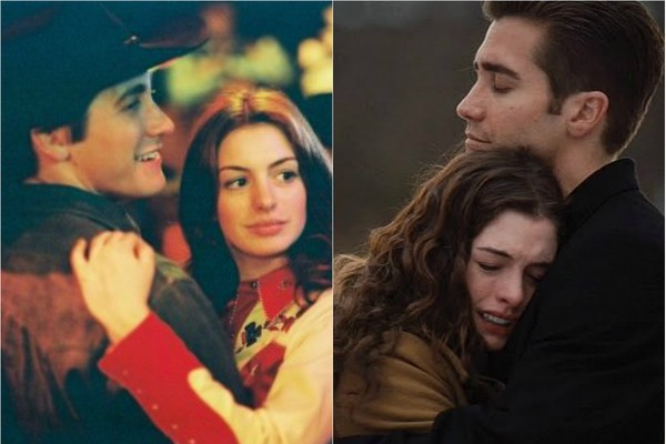 Anne Hathaway e Jake Gyllenhaal formaram par romântico no cinema em 2005 e 2010. Primeiro como marido e mulher em 'O Segredo de Brokeback Mountain' e, cinco anos depois, como um casal apaixonado em 'Amor e Outras Drogas'  (Foto: Divulgação)
