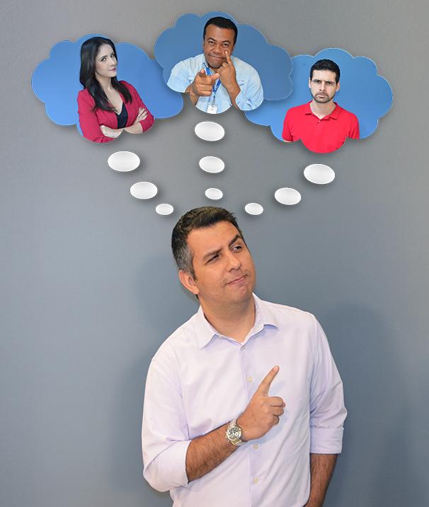 Murilo Zara pensa nas táticas dos amigos de redação (Foto: Marketing TV Fronteira)