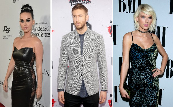 Katy Perry, Calvin Harris e Taylor Swift (Foto: Getty Images)