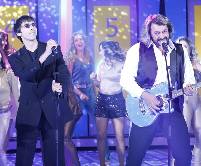Banda Bee Gees One brilha no palco do Domingão  (Foto: Ellen Soares/ Gshow)