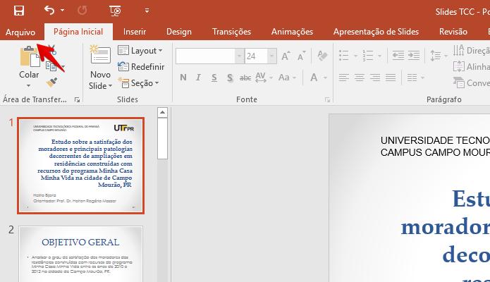 Acesse o menu Arquivo do PowerPoint (Foto: Reprodução/Helito Bijora)