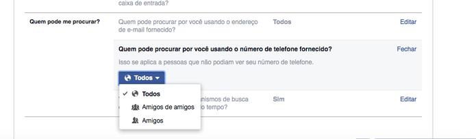 Altere quem pode procurá-lo no Facebook usando seu número de telefone (Foto: Reprodução/Facebook)