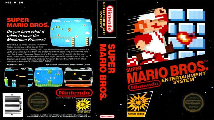Apesar da empolgação, Mario salta para a morte na arte da caixa de seu game (Foto: Reprodução/it8Bit)