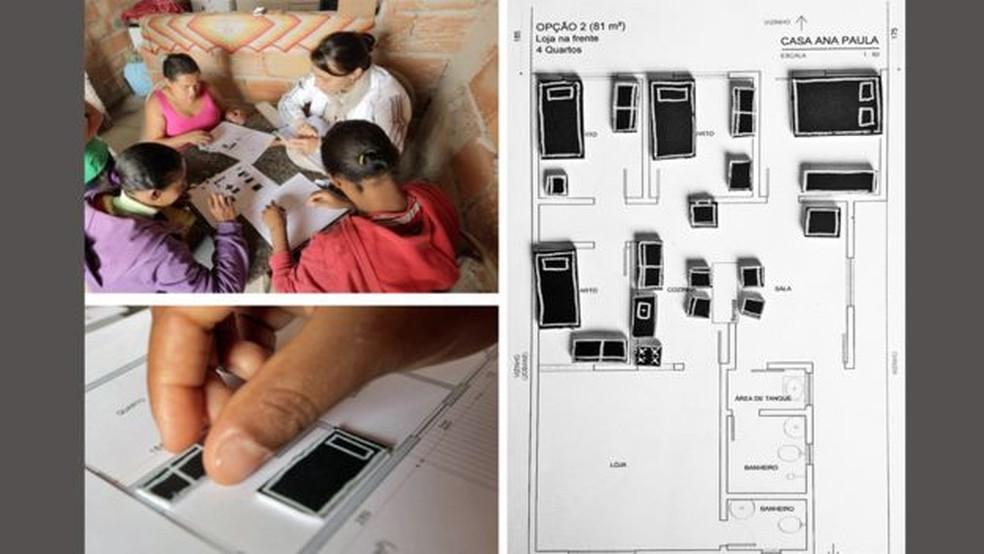 Participantes de projeto usaram pequenas figuras para visualizar disposição de móveis em casa (Foto: Bruno Figueiredo/BBC)