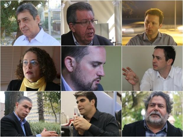 Nove candidatos à Prefeitura de Porto Alegre falam sobre propostas para a segurança (Foto: Montagem sobre fotos/G1)