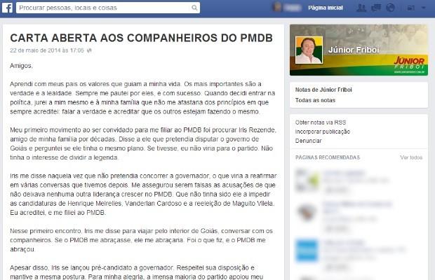 Júnior Friboi renuncia candidatura ao governo de Goiás em carta ao PMDB (Foto: Reprodução/ Facebook)