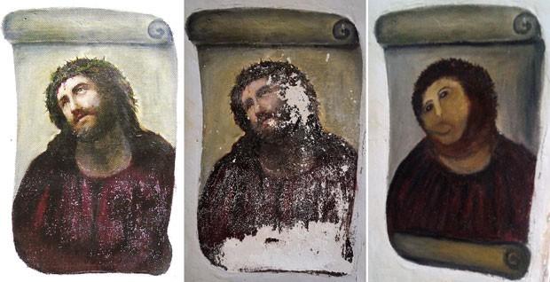 A partir da esquerda, a obra de Elías García Martínez original, deteriorada e depois da 'restauração'. (Foto: AFP)
