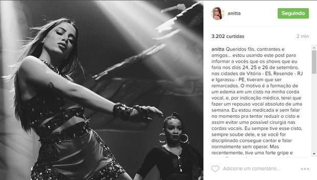 Post de Anitta anunciando o problema nas cordas vocais (Foto: Reprodução/Instagram)