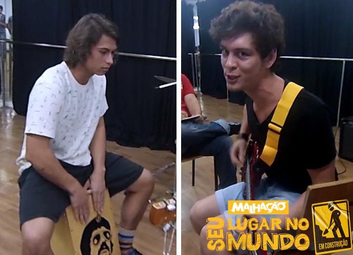 Francisco Vitti aprende técnicas de percussão e João Vithor mostra que já arrasa na guitarra (Foto: Gshow)
