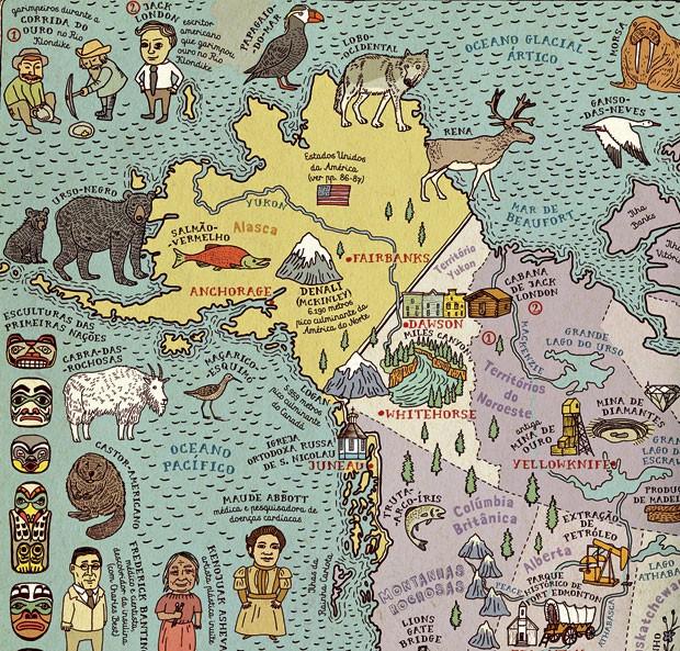 Viajar no papel | Qual é o tamanho do mundo? Quantos animais, culturas e comidas diferentes existem? Em páginas duplas, a obra apresenta mapas de 46 países e seis continentes – tudo ricamente ilustrado, com informações e detalhes que ensinam e divertem to (Foto: Reprodução)