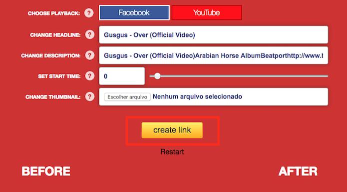 Opção para criar o link de compartilhamento com imagem grande para vídeos do YouTube (Foto: Reprodução/Marvin Costa)