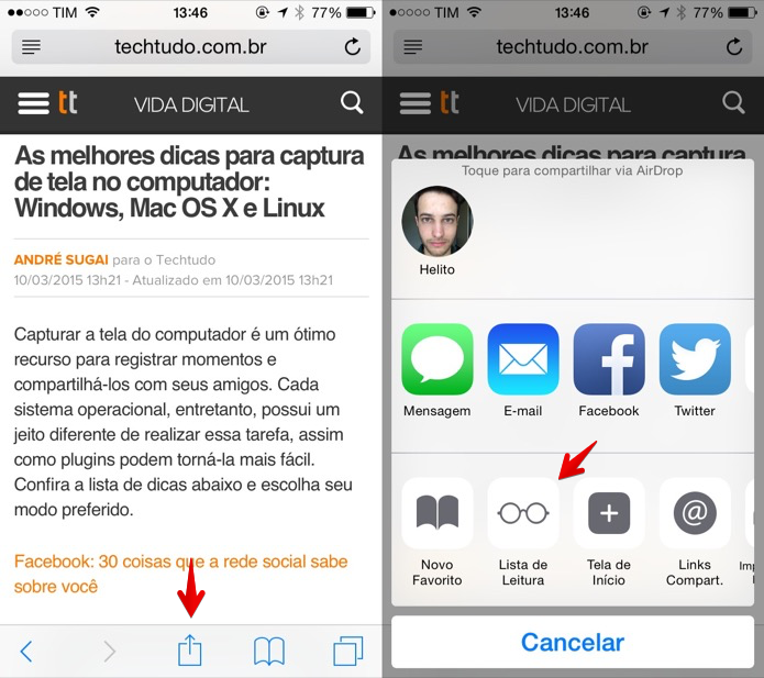 Adicionando site à lista de leitura do iOS (Foto: Reprodução/Helito Bijora)