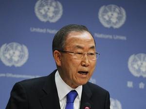 Secretário-geral das Nações Unidas, Ban Ki-moon, fala durante coletiva de imprensa na sede da organização em Nova York (Foto: Reuters)