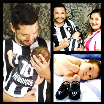 No AC, ensaio fotográfico de bebê revela paixão de pais pelo Botafogo (Foto: Editoria de Arte/GE)