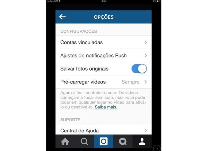 Desativando o salvamento automático de fotos no Instagram (Foto: Reprodução/ Lívia Dâmaso)