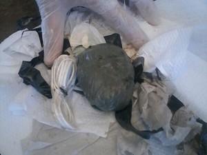 Droga estava escondida nas partes íntimas da mulher (Foto: Divulgação/Direção de Alcaçuz)