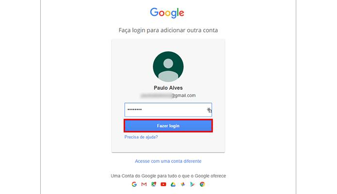 Faça login no Google (Foto: Reprodução/Paulo Alves)