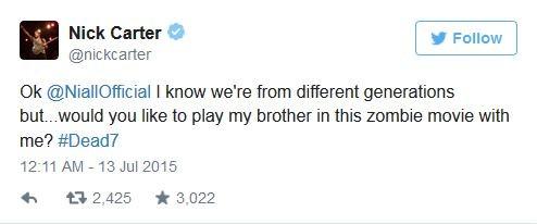 Nick Carter convida Nial Horan para filme (Foto: Instagram / Reprodução)