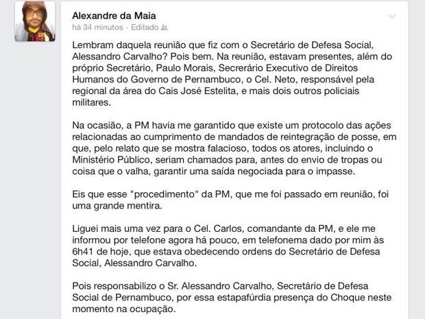 Advogado Alexandre da Maia contesta reintegração de posse no Cais (Foto: Reprodução/Facebook)
