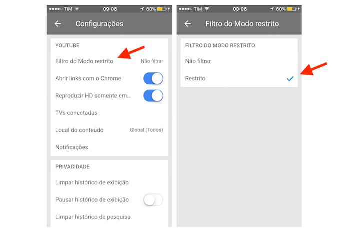 Ativando o Modo Restrito do YouTube para iPhone (Foto: Reprodução/Marvin Costa)