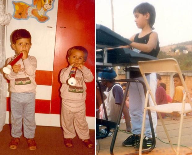 Ao lado de seu irmão, Fábio, Marcelo Jeneci mostrava intimidade com instrumentos musicais desde criança (Foto: Arquivo Pessoal)