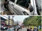 Carro capota no Quitandinha, em Petrópolis, RJ, e deixa trânsito lento
