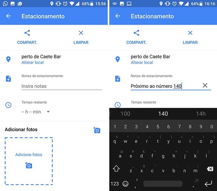 Google Maps tem campo para que o usuário insira detalhes em texto sobre estacionamento (Foto: Reprodução/Elson de Souza)