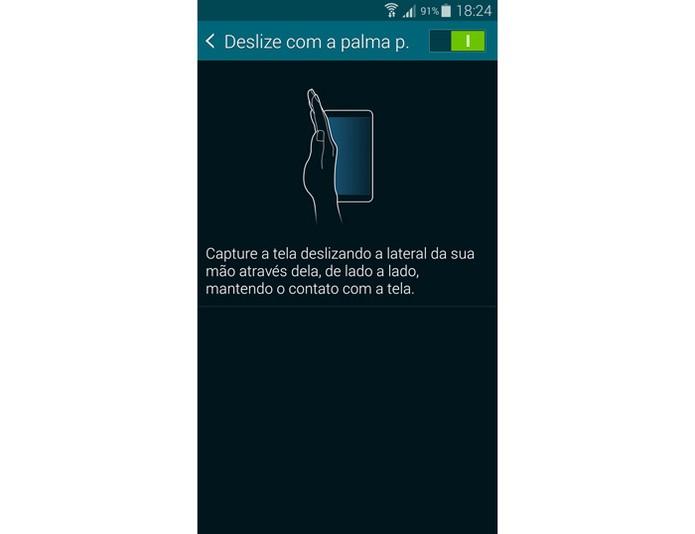 Ativação da captura por gesto no Galaxy S5 (Foto: Reprodução)