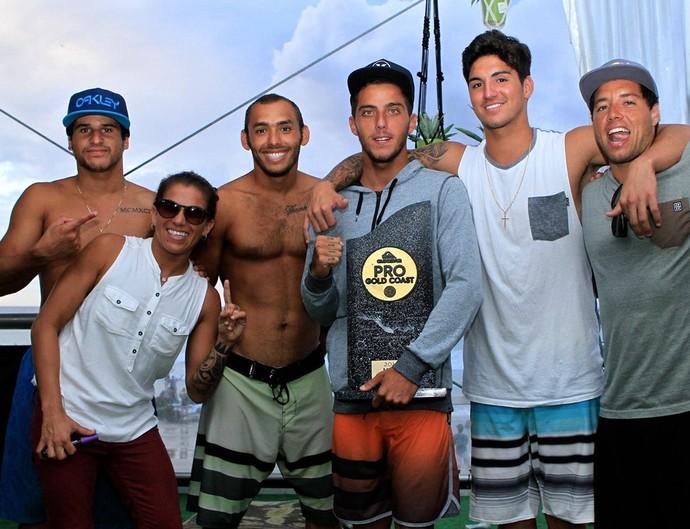 Ítalo Ferreira, Silvana Lima, Jadson André, Filipe Toledo, Gabriel Medina e Mineirinho (Foto: Aires Nicolay)