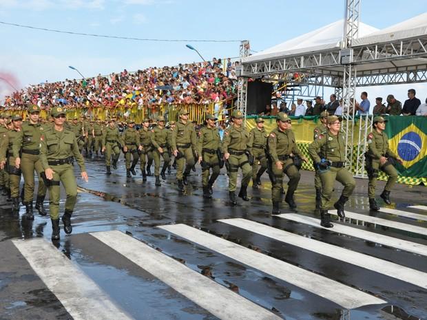 Desfile de 7 de setembro, em Santarém (Foto: Zé Rodrigues/ TV Tapajós)