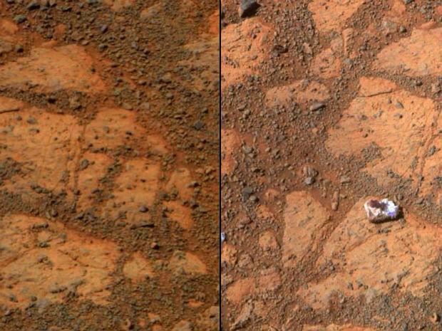 Imagens mostram antes e depois de zona rochosa em Marte documentada pelo Opportunity. À direita, rocha misteriosa encontrada 12 dias após o registro da primeira imagem. (Foto: AFP Photo/ NASA/JPL-Caltech/Cornell University/Arizona State University/ Handout)