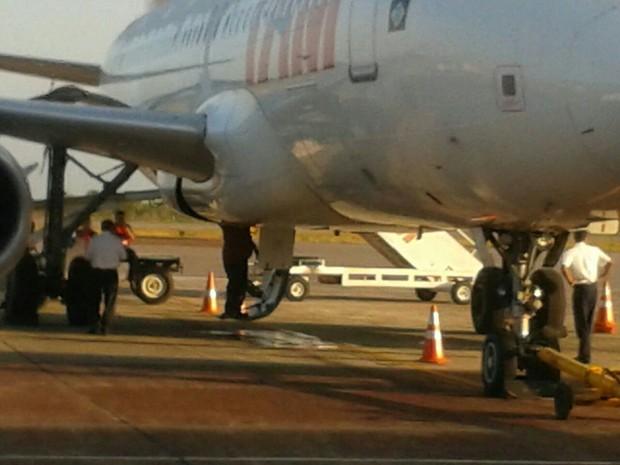 Passageiro registrou local de manutenção em aeronave (Foto: Fabrício Guterres/Arquivo Pessoal)