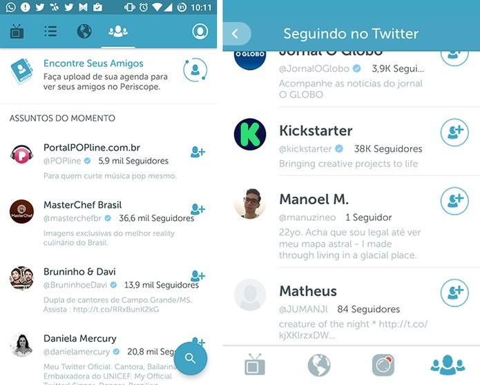 Periscope para Android e iOS possui listas com sugestões de usuários (Foto: Reprodução/Elson de Souza)