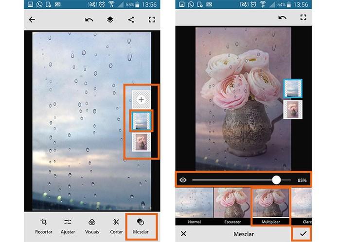 Use a ferramenta de mesclagem para juntar as duas fotos em uma só montagem (Foto: Reprodução/Barbara Mannara)