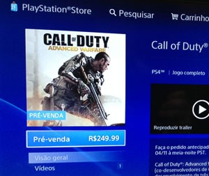 Na loja virtual PS Store, novo 'Call of Duty' é vendido por R$ 250 (Foto: G1)