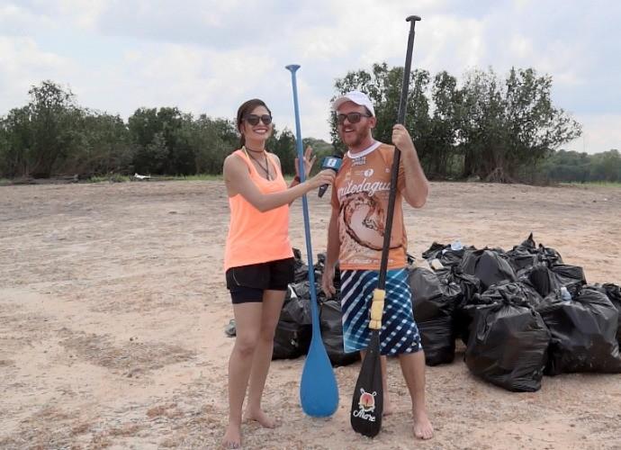 'Zapp' mostra ação de limpeza em margem de rio (Foto: Zappeando)