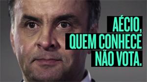 Slogan contra Aécio Neves criado pela propaganda do PT