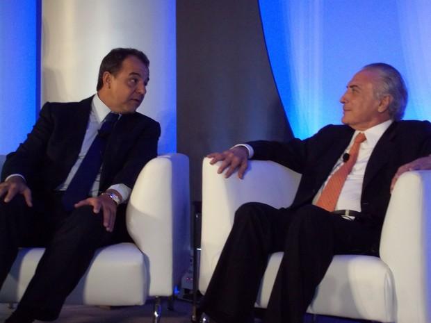 Sérgio Cabral e Michel Temer em evento da Microsoft no Rio (Foto: Lilian Quaino/G1)