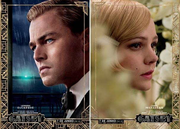 Leonardo DiCaprio e Carey Mulligan nos pôsters que acabam de ser lançados poraqui (Foto: Divulgação)