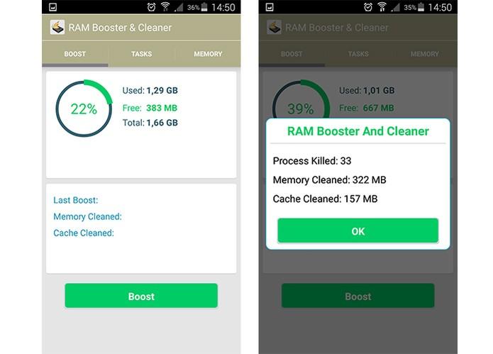 RAM Booster & Cleaner tem interface voltada para limpeza de RAM no celular (Foto: Reprodução/Barbara Mannara)