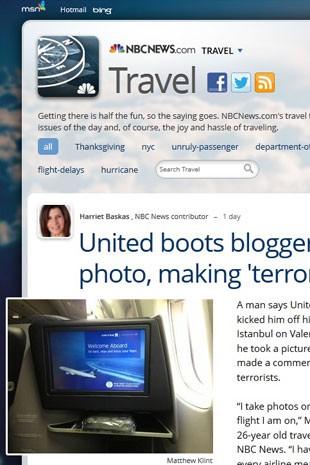 Frame de notícia sobre o blogueiro de viagens Matthew Klink, que foi expulso de um voo da United por ter tirado uma foto (Foto: Reprodução/NBCNews.com)