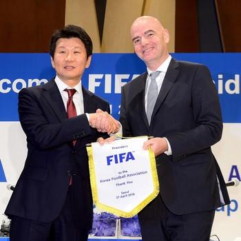 Gianni Infantino e presidente da Federação Coreana Chung Mong-gyu (Foto: Reuters)