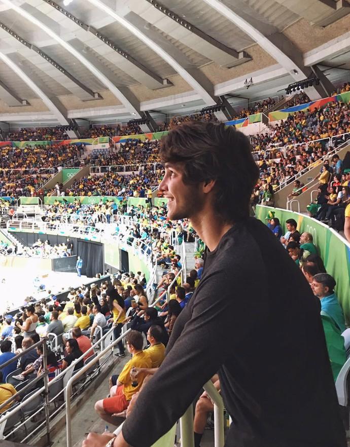 Bruno Guedes não contém alegria durante uma partida de vôlei (Foto: Arquivo pessoal)