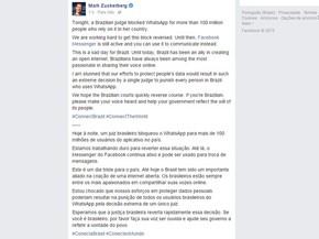 Whatsapp Bloqueado Zuckerberg Diz Que Este é Um Dia Triste