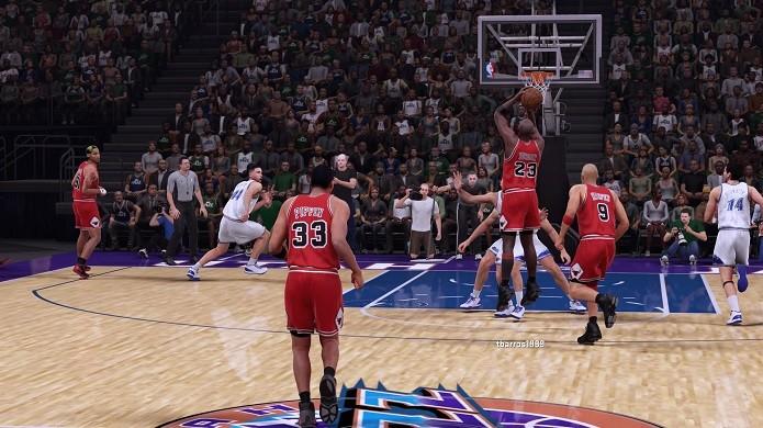 Arremesso histórico de Michael Jordan é uma bela comparação para NBA 2K16 (Foto: Reprodução/Thiago Barros)