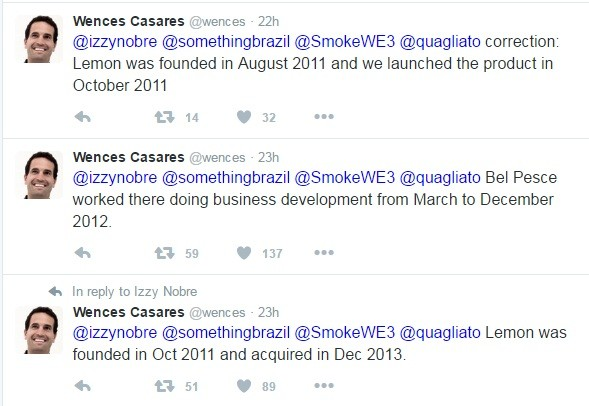 Em seu Twitter, criador da Lemon esclarece que Bel Pesce entrou para a empresa só depois da fundação (Foto: Reprodução / Twitter)