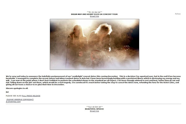 Nota publicada no site de Brian May  (Foto: Reprodução)
