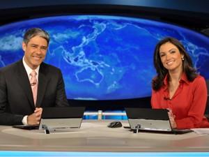 Bonner e Patricia Poeta (Foto: Encontro com Fátima/TV Globo)