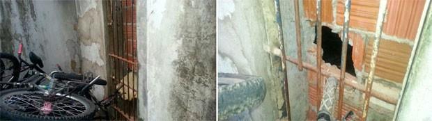 Presos quebraram grades e fizeram buracos nas paredes do CDP de Candelária, em Natal (Foto: Jorge Talmon/G1)
