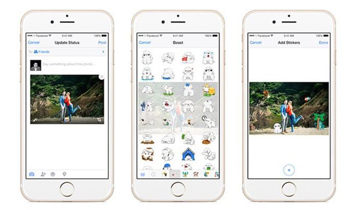 Facebook para Android e iOS agora permite adicionar stickers às fotos (Foto: Divulgação/Facebook)